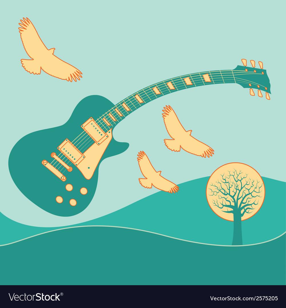 Guitar fly landscape2 vector