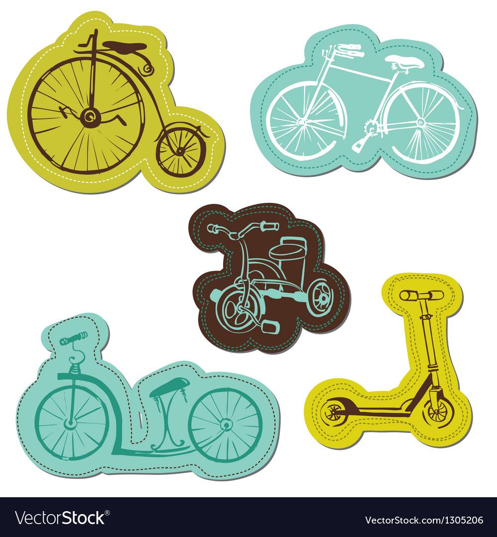 Set of baby bike stickers vector