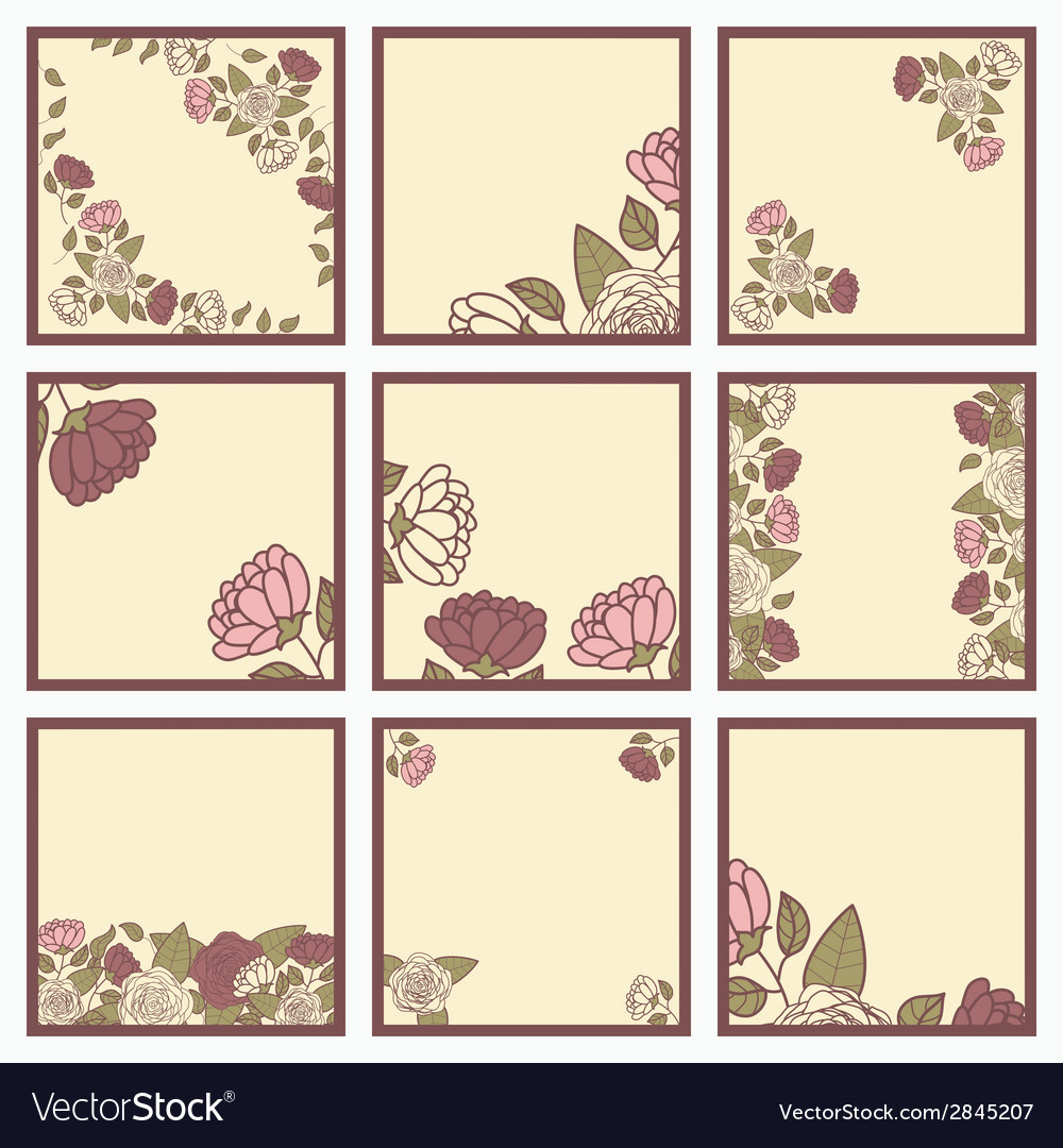 Floral cards with roses event design template vector
