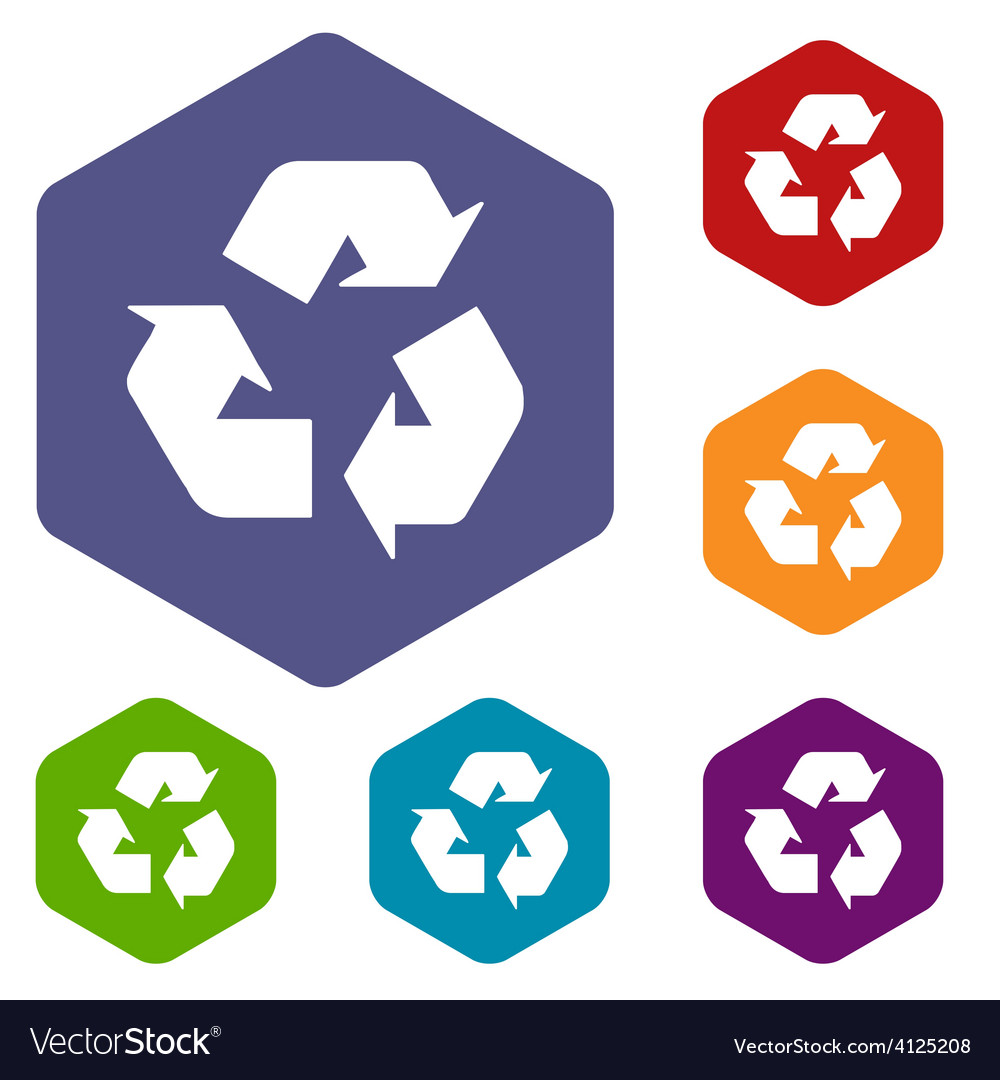 Recycling rhombus icons vector
