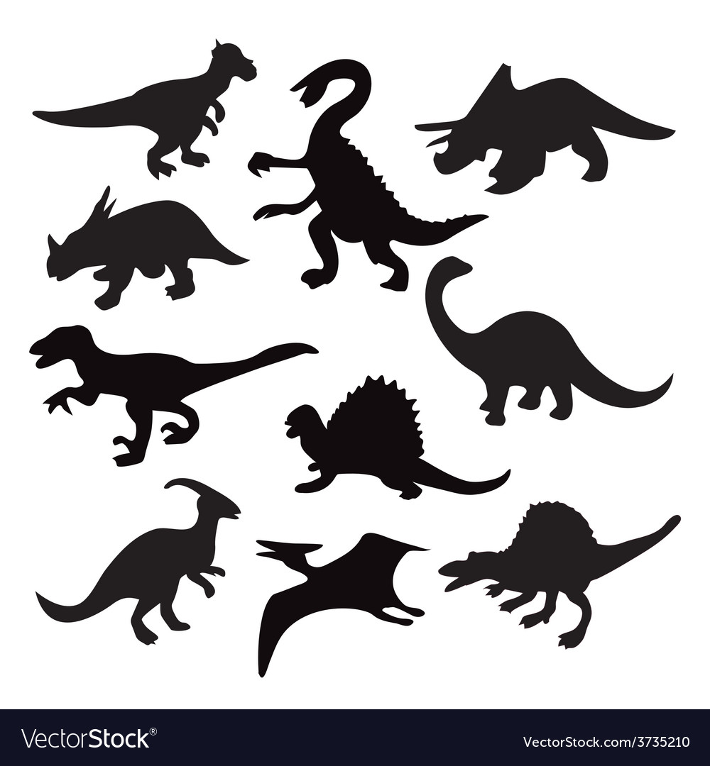 Dino animal dinosaur silhouette vector