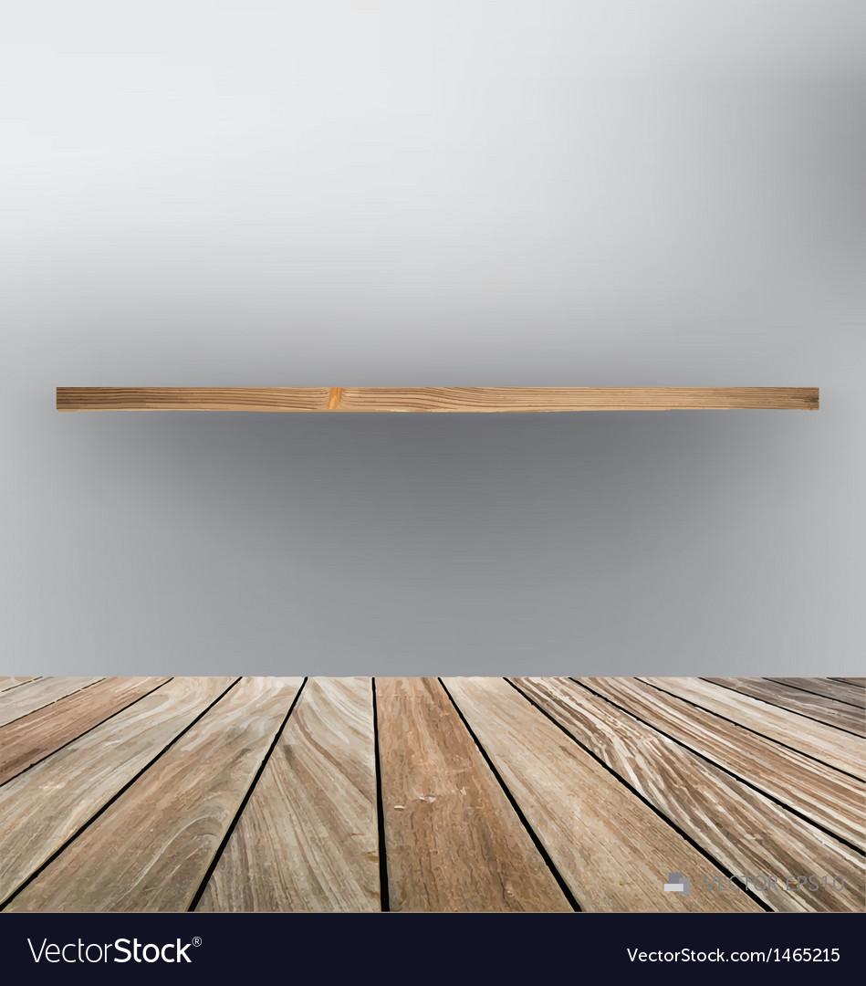 Empty wood shelf floor vector