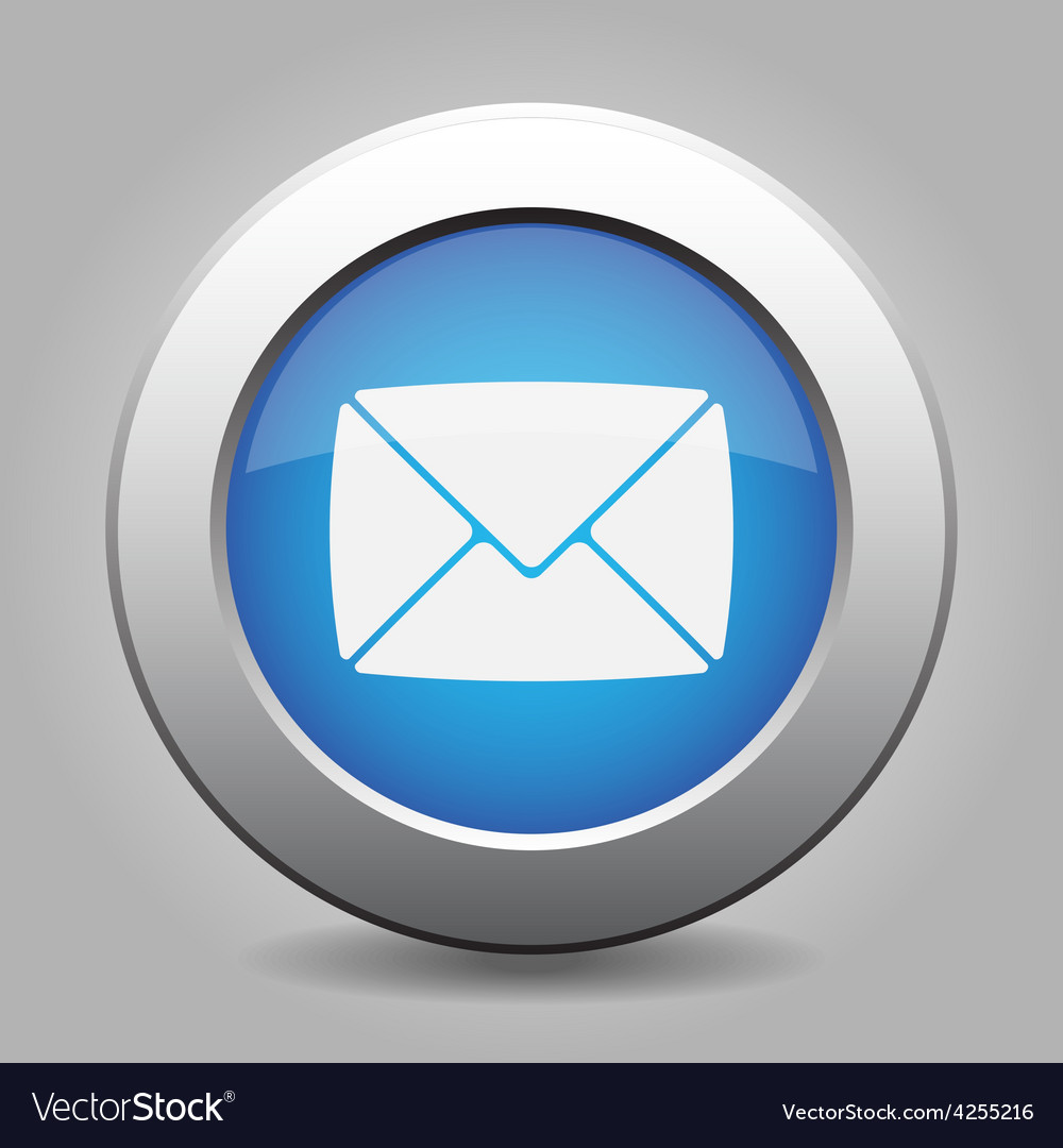 Blue metal button with mailing envelope vector