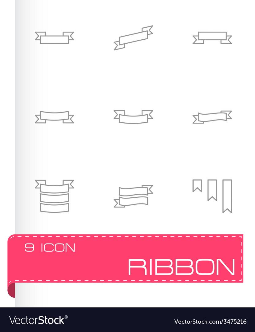 Ribbon icon set vector