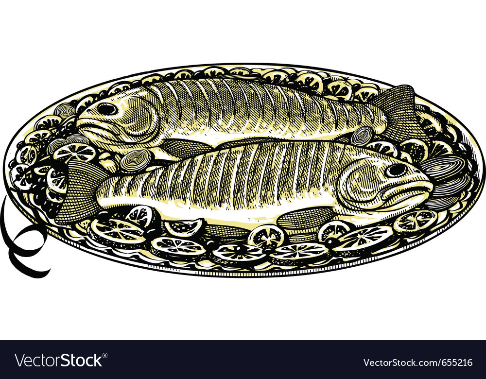 Roasted fish in vintage engraved style vector