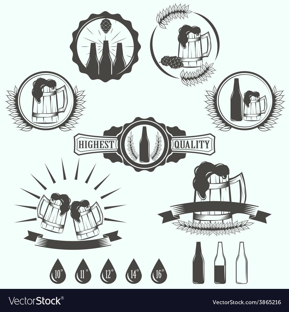 Vintage beer brewery emblems labels and design vector