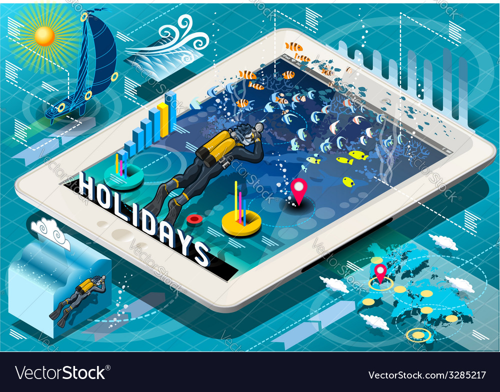 Isometric diving holidays infographic on tablet vector