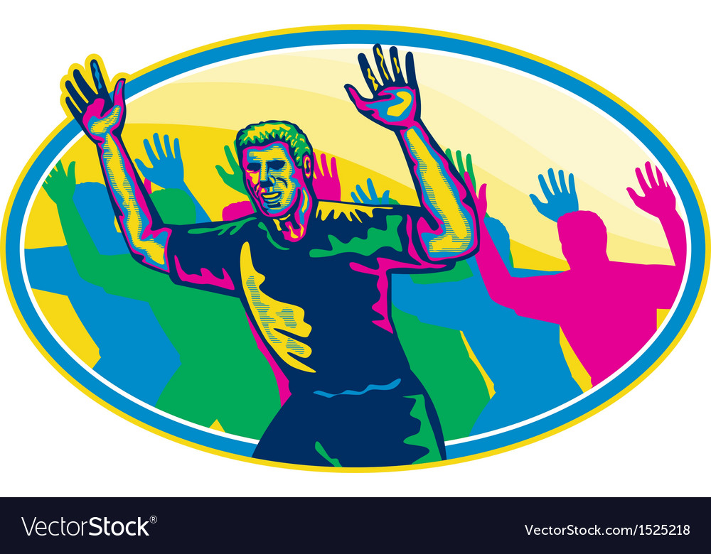 Happy marathon runner running oval retro vector