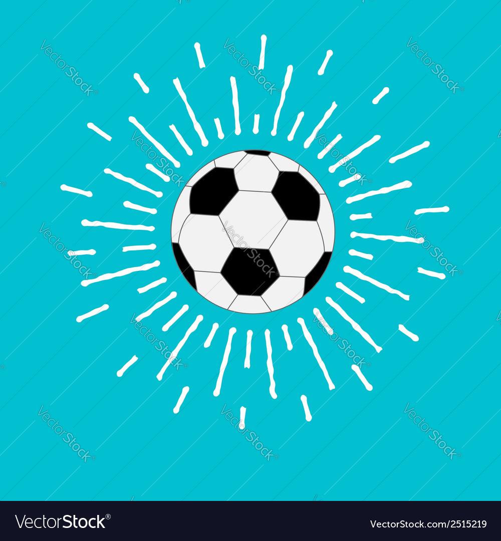 Football soccer ball with shining sunlight effect vector