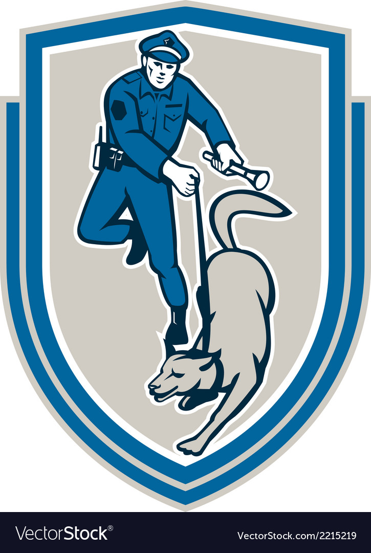 Policeman with police dog canine crest retro vector