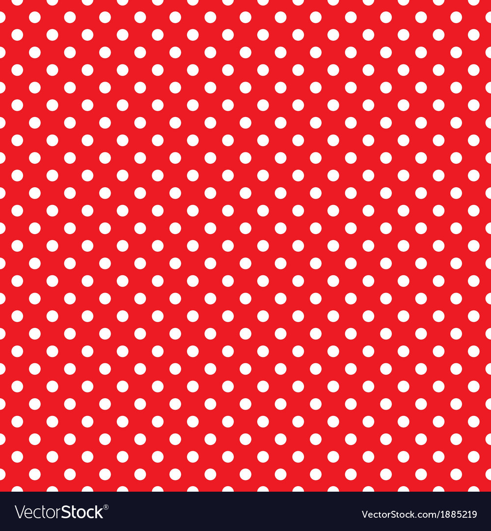 Seamless pattern white polka dots red background vector