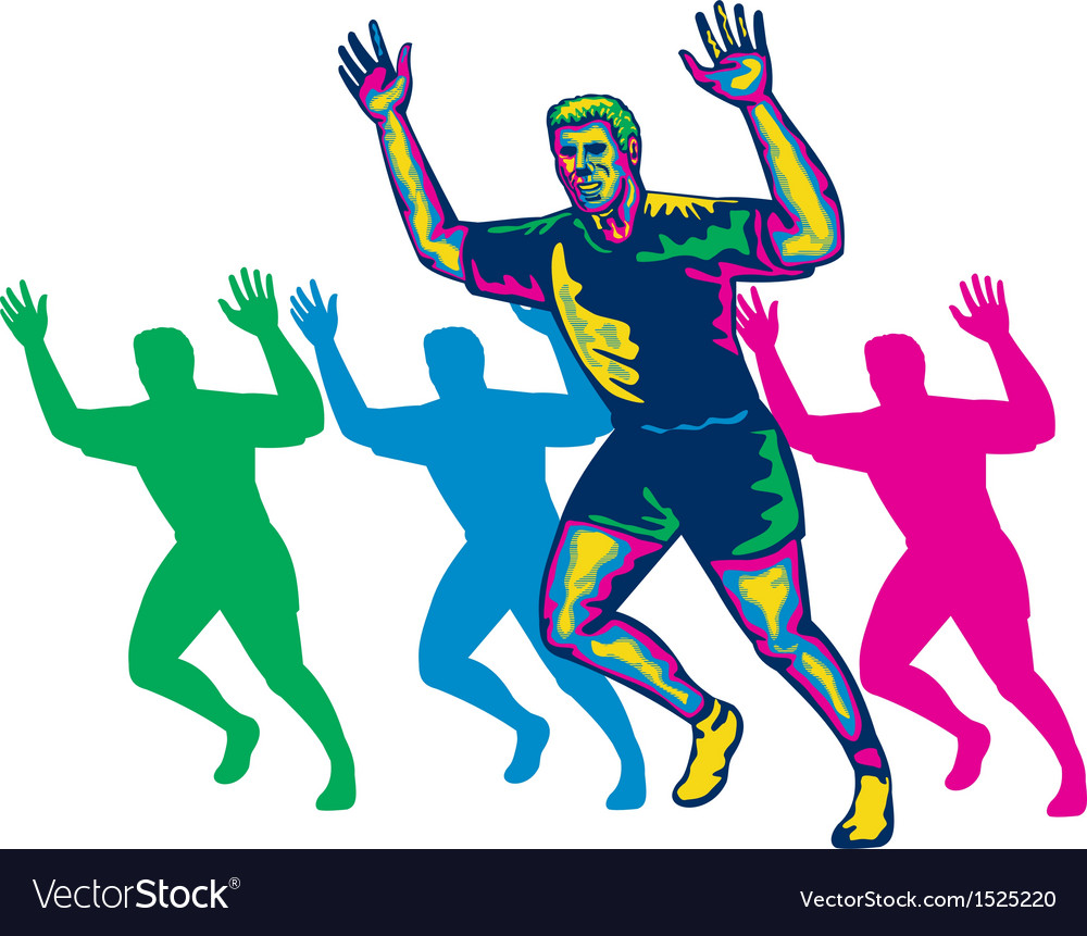 Happy marathon runner running retro vector
