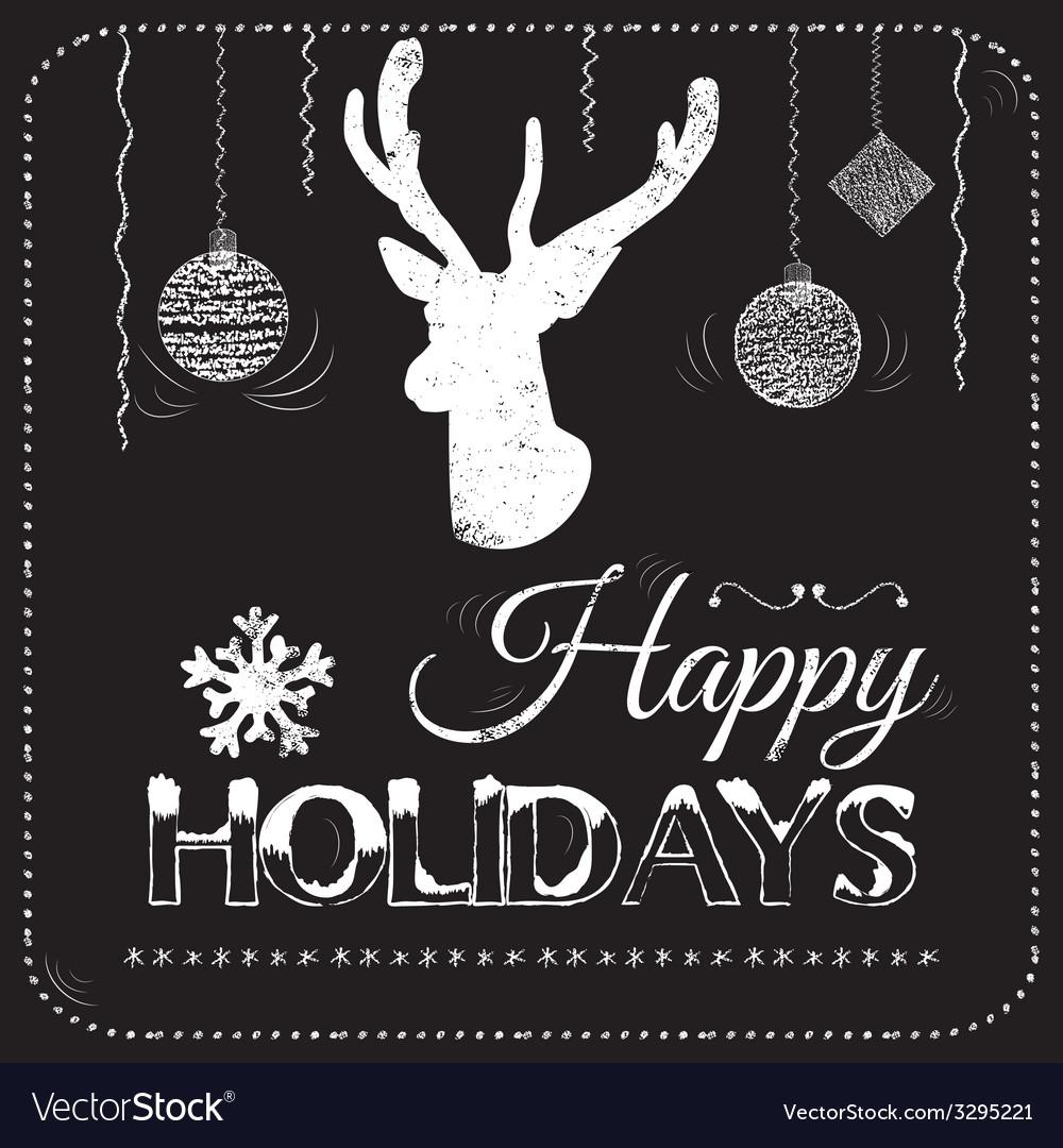 Christmas card on the chalkboard vector