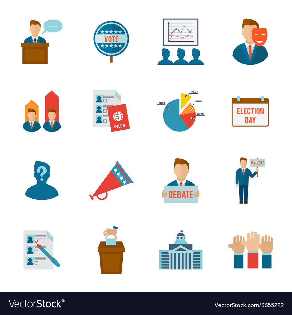 Election icon flat vector
