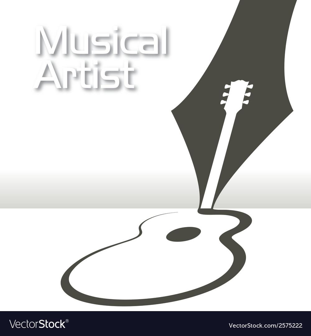 Guitar pen music vector