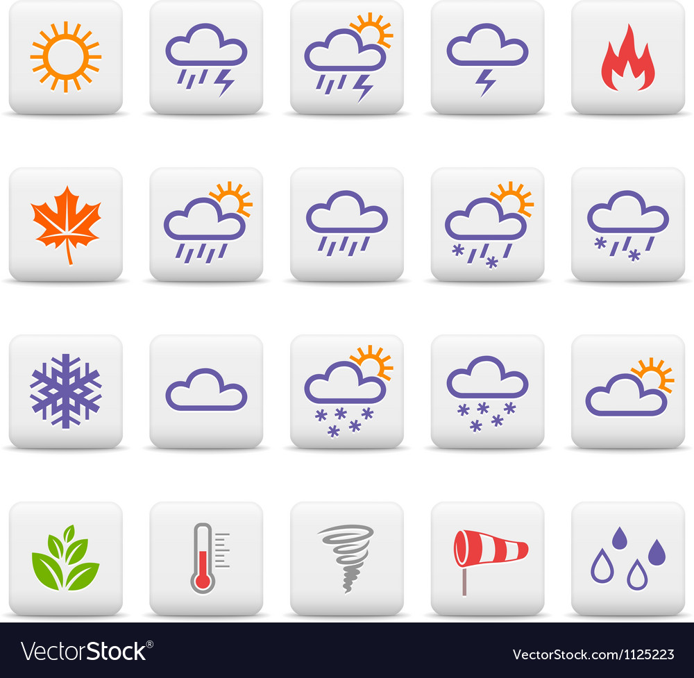 Weather and seasons icons vector