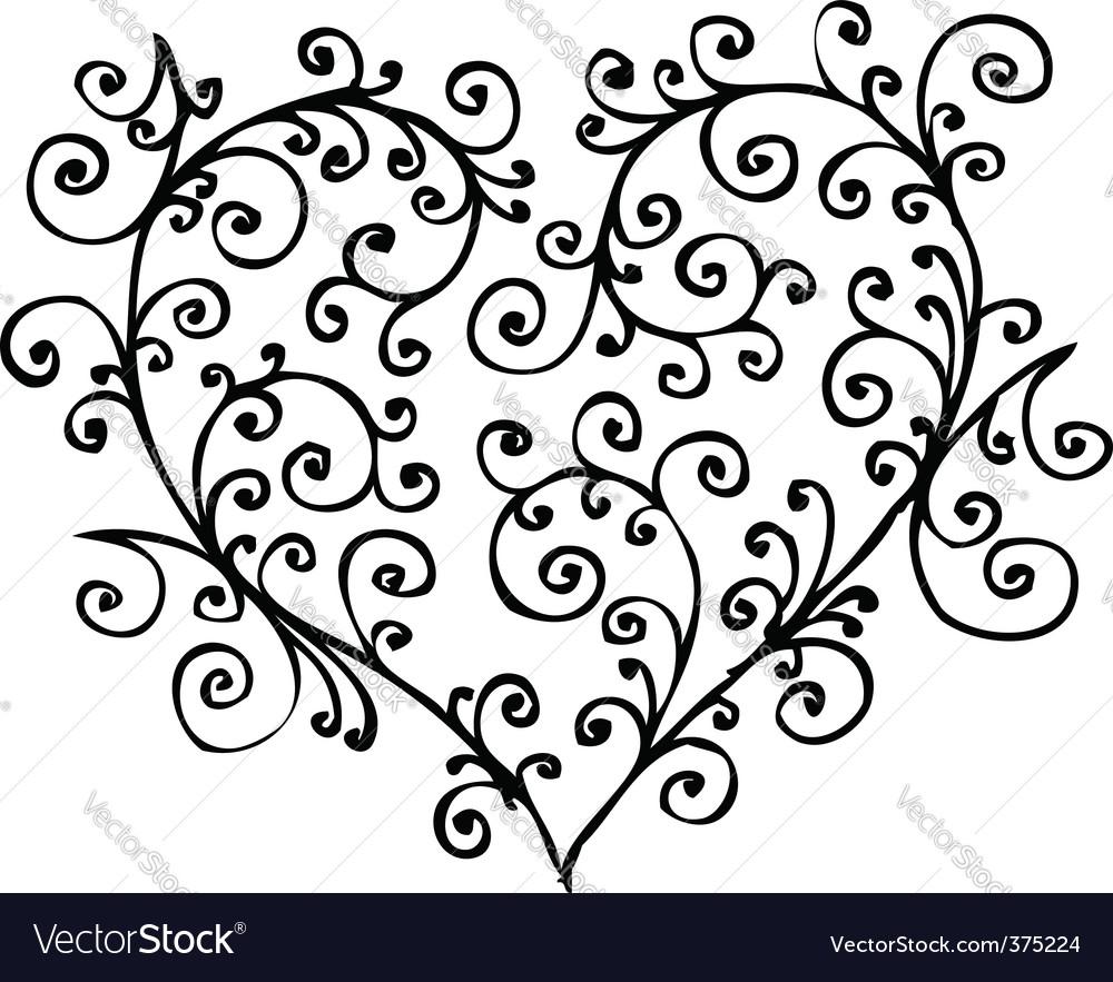 Romantic heart vignette vector