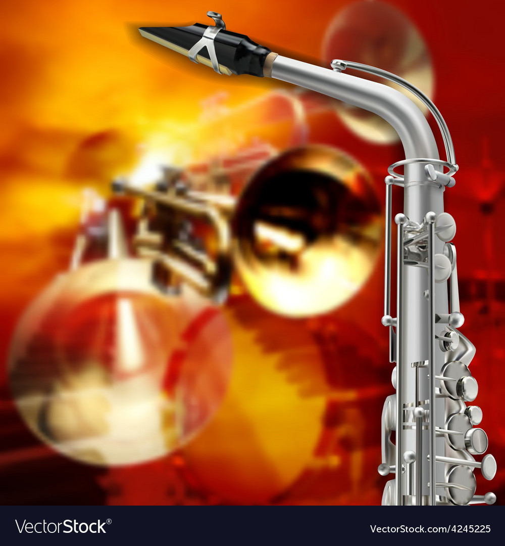 Abstract red grunge background with saxophone and vector