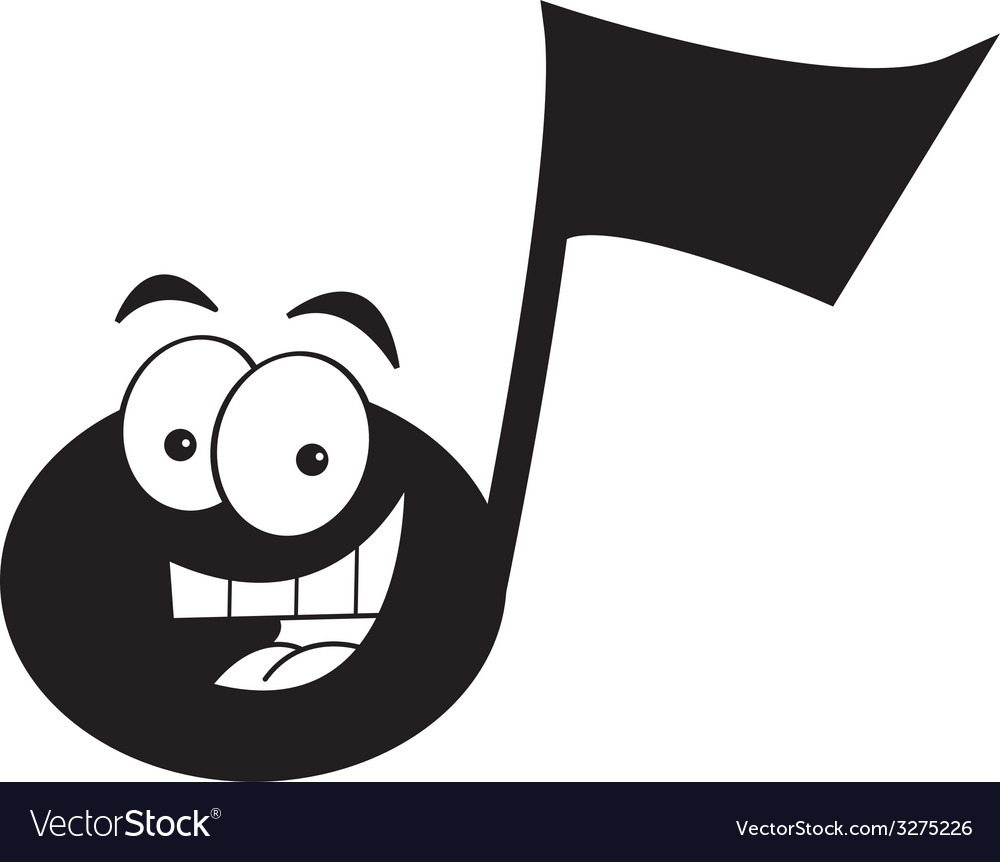 Cartoon smiling musical note vector