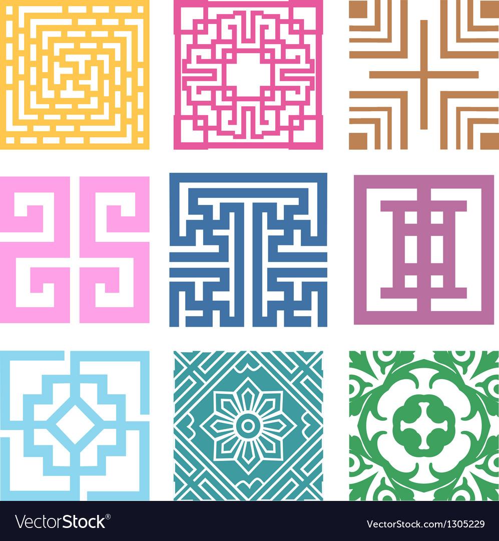 Plaid symbol sets geometric pattern design vector