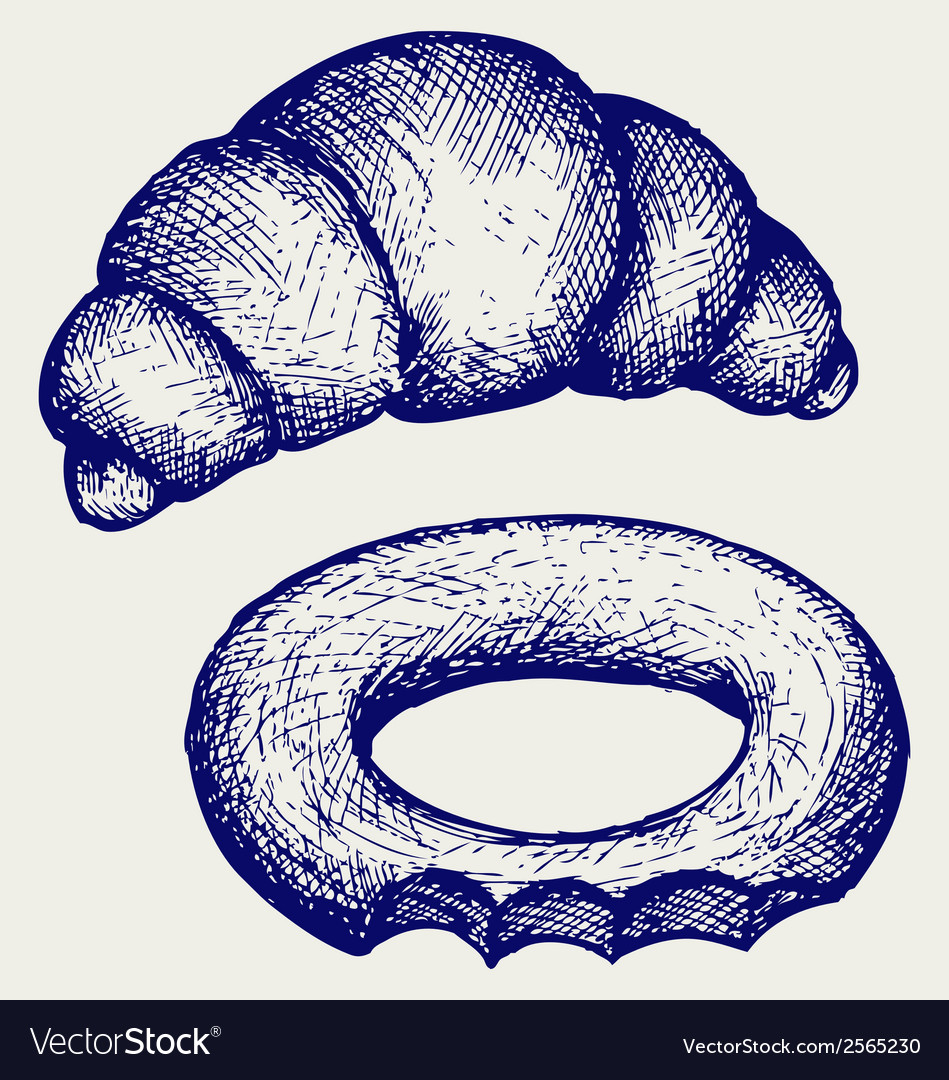 Fresh croissant and bagel vector