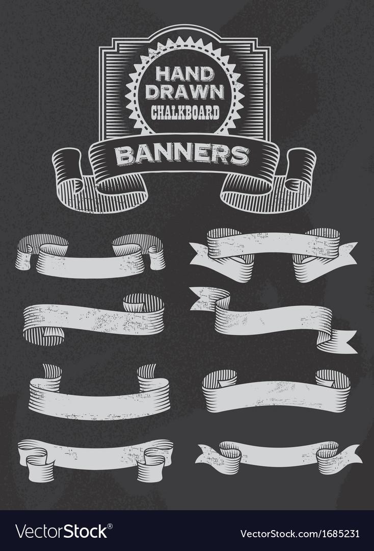 Retro chalkboard banner and ribbon design set vector