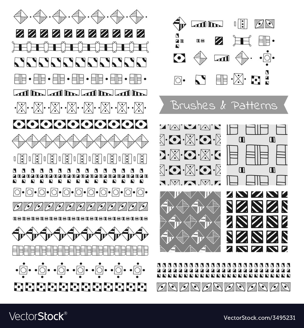 Set of decorative elements brushes border vector