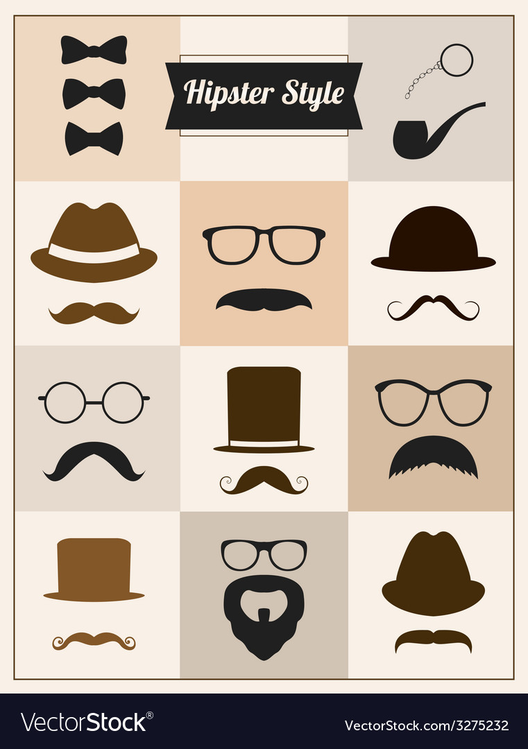 Hipster style mustache hat sunglasses set vector