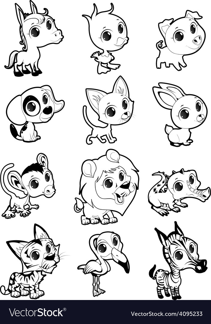 Farm and wild animals in black and white vector