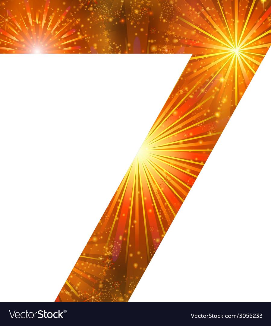 Number of orange firework seven vector