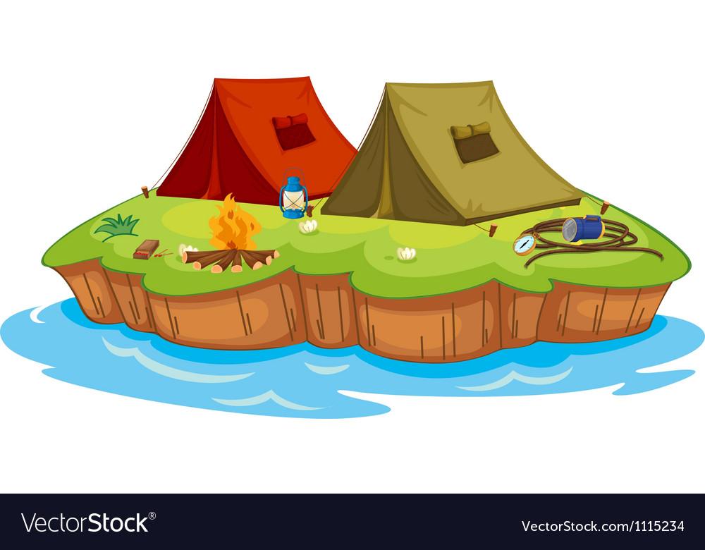 Base camp on an island vector