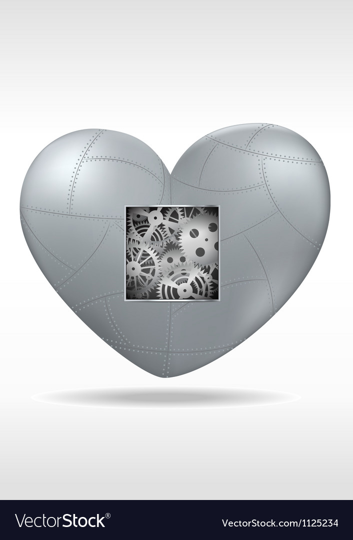 Mechanical heart with gears vector