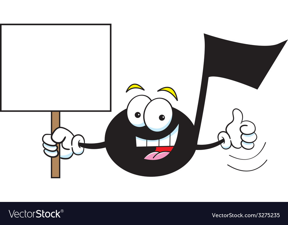 Cartoon musical note holding a sign vector