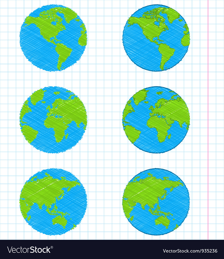 Doodle earth globes set vector
