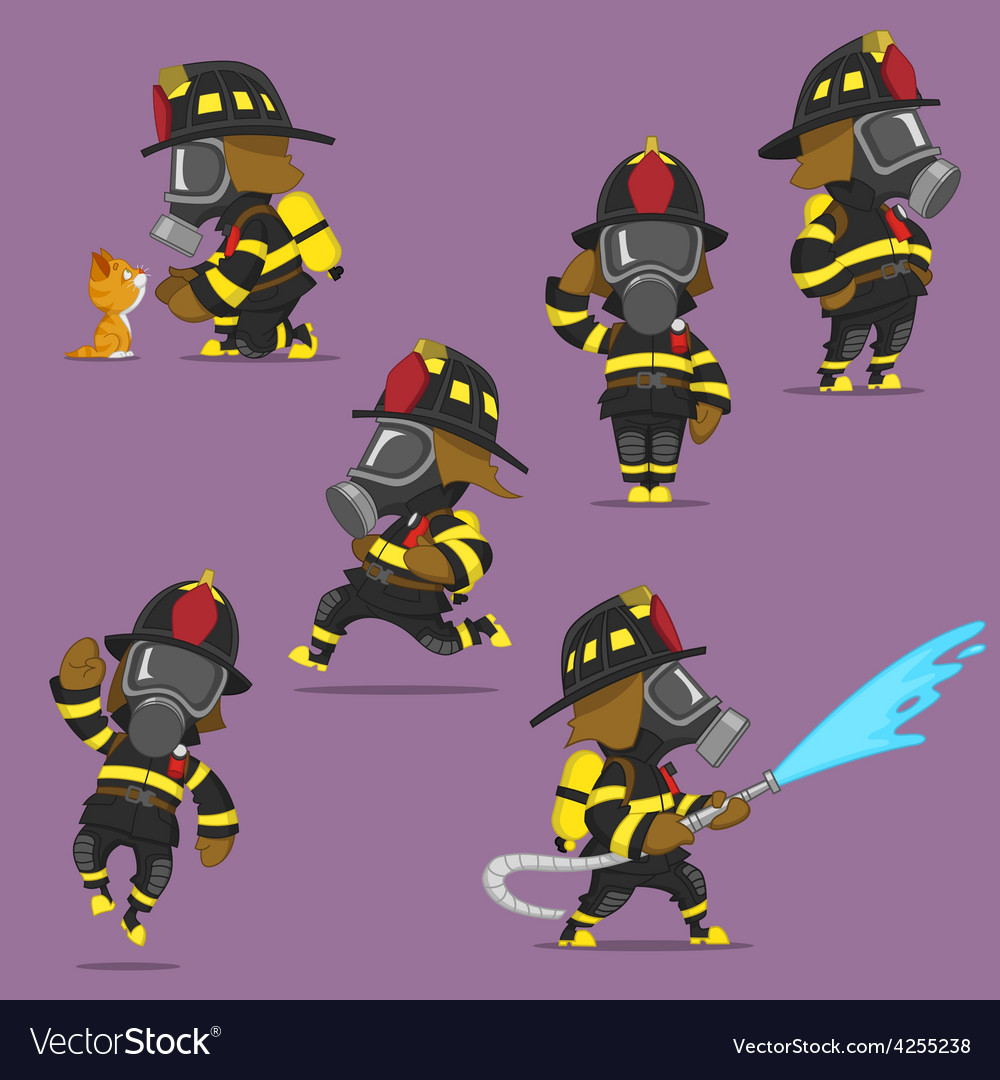 Set of firefighters vector