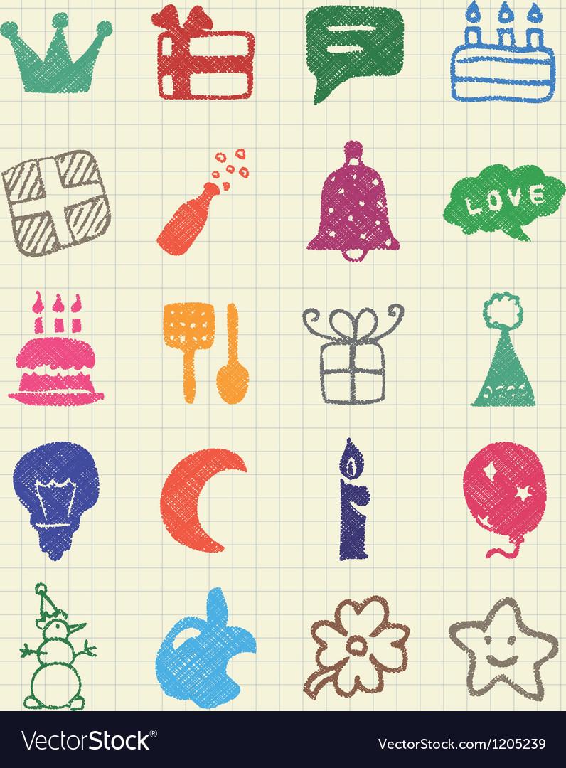 Holidays and celebration web icons set vector