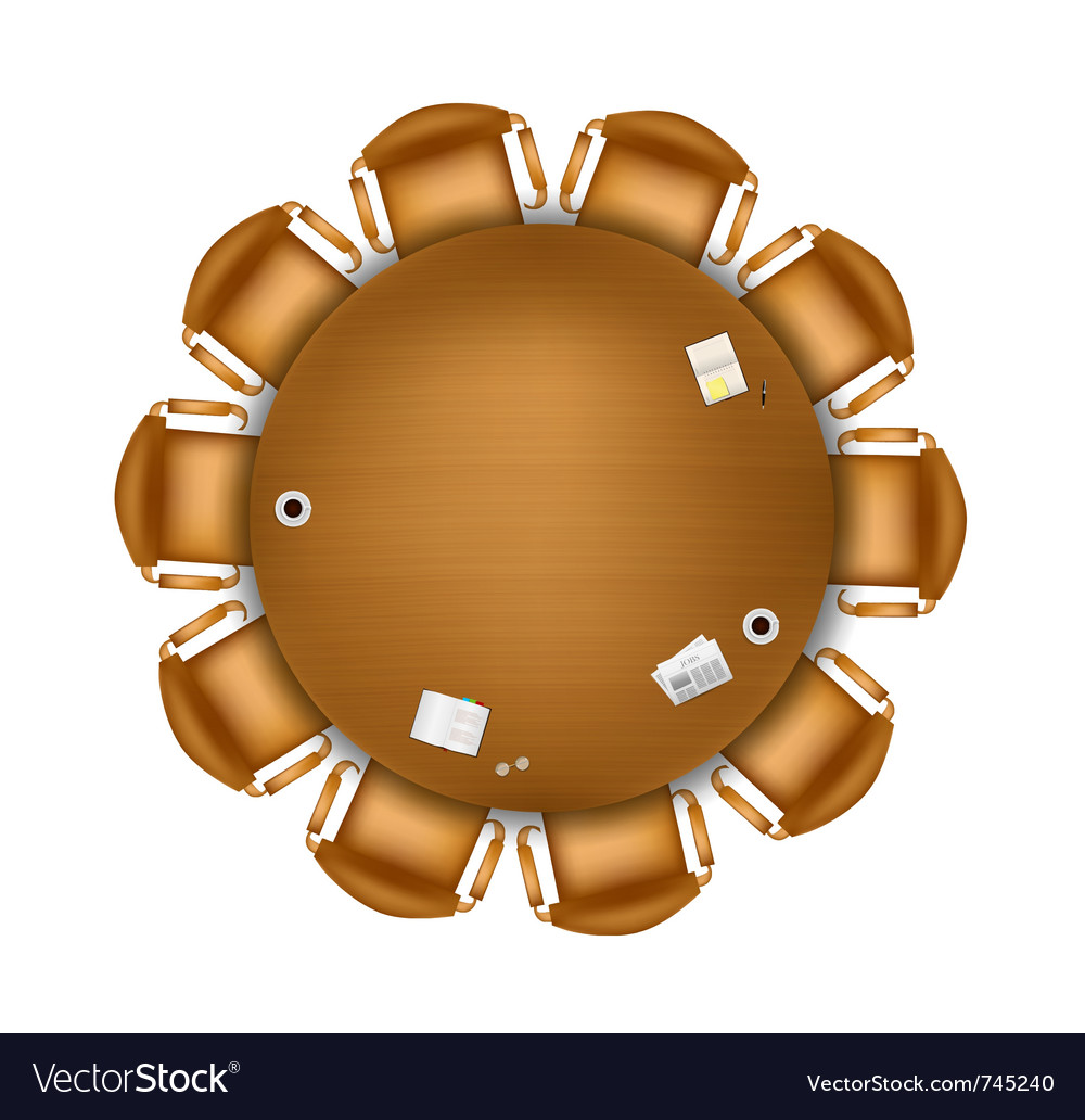 Round meeting table vector