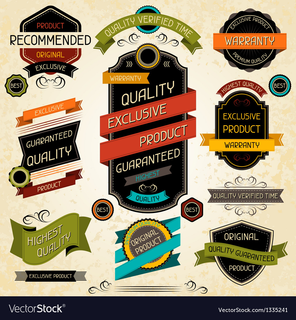 Set of premium quality labels and stickers vector