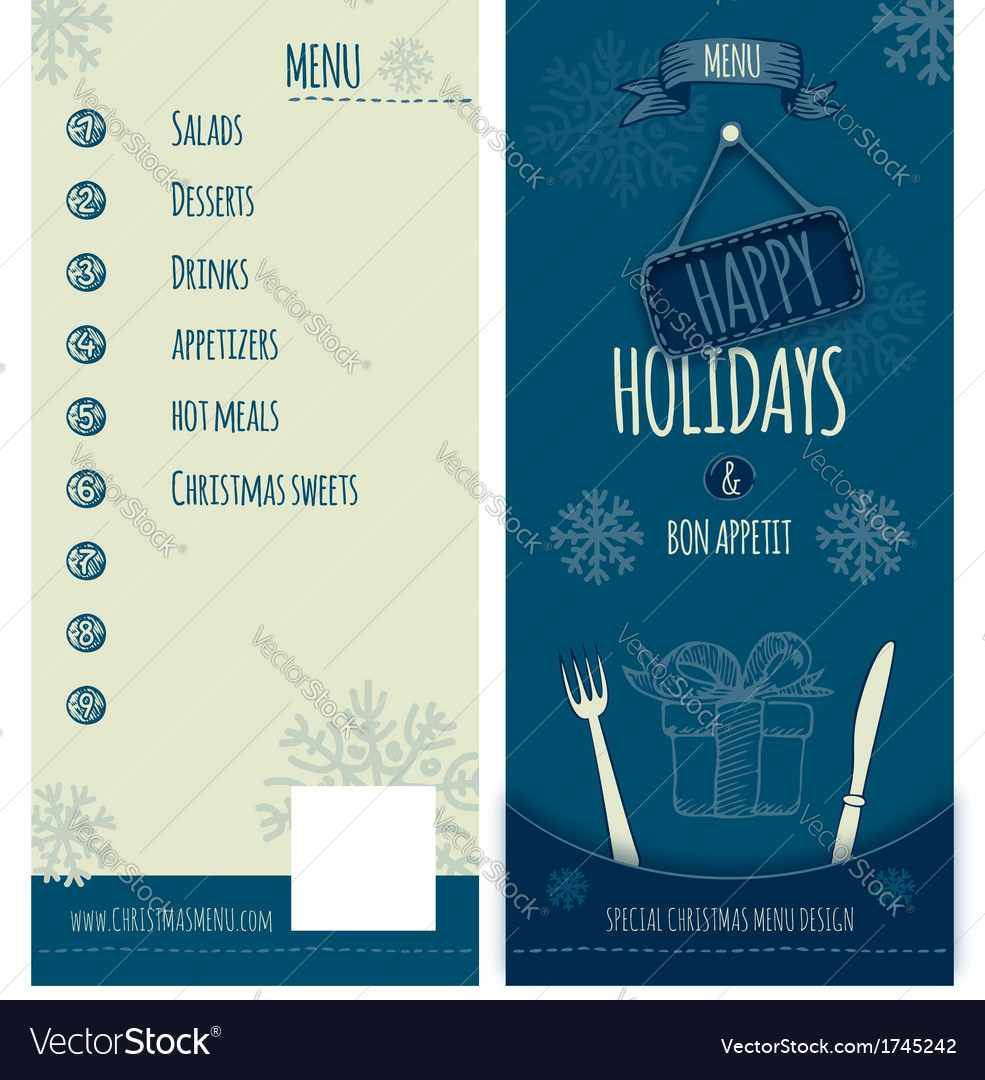 Happy holiday christmas menu vector
