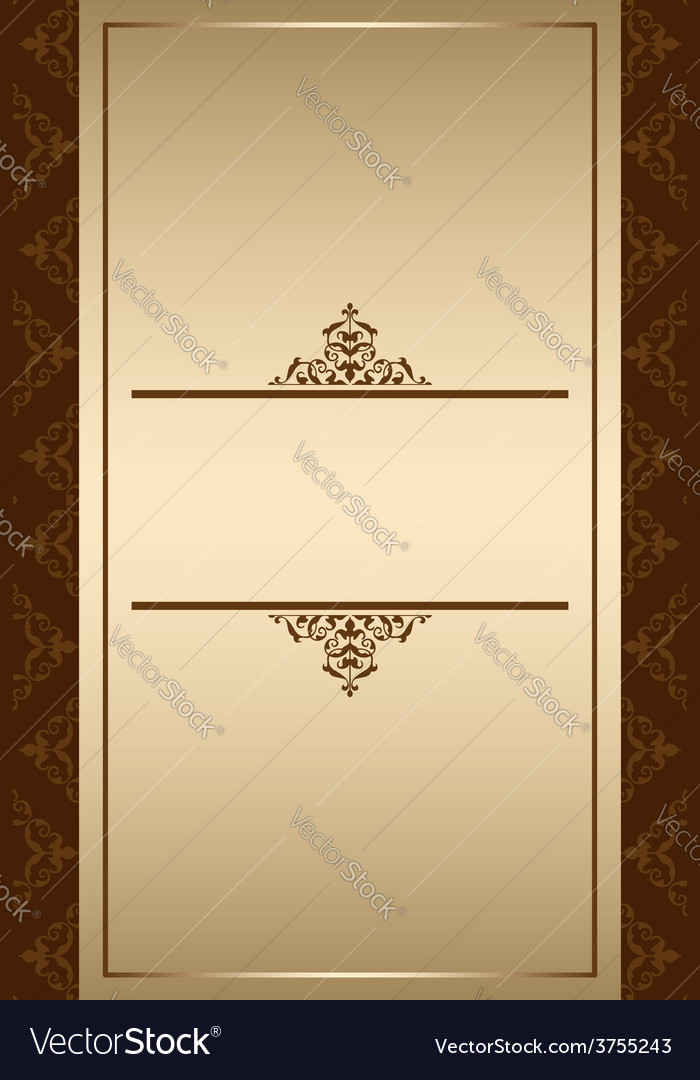 Background with golden gradient and brown decor vector