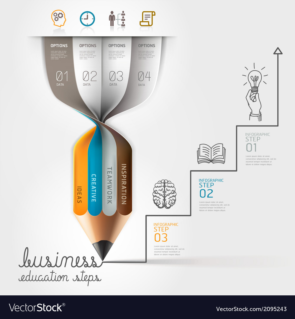 Business education pencil infographics vector