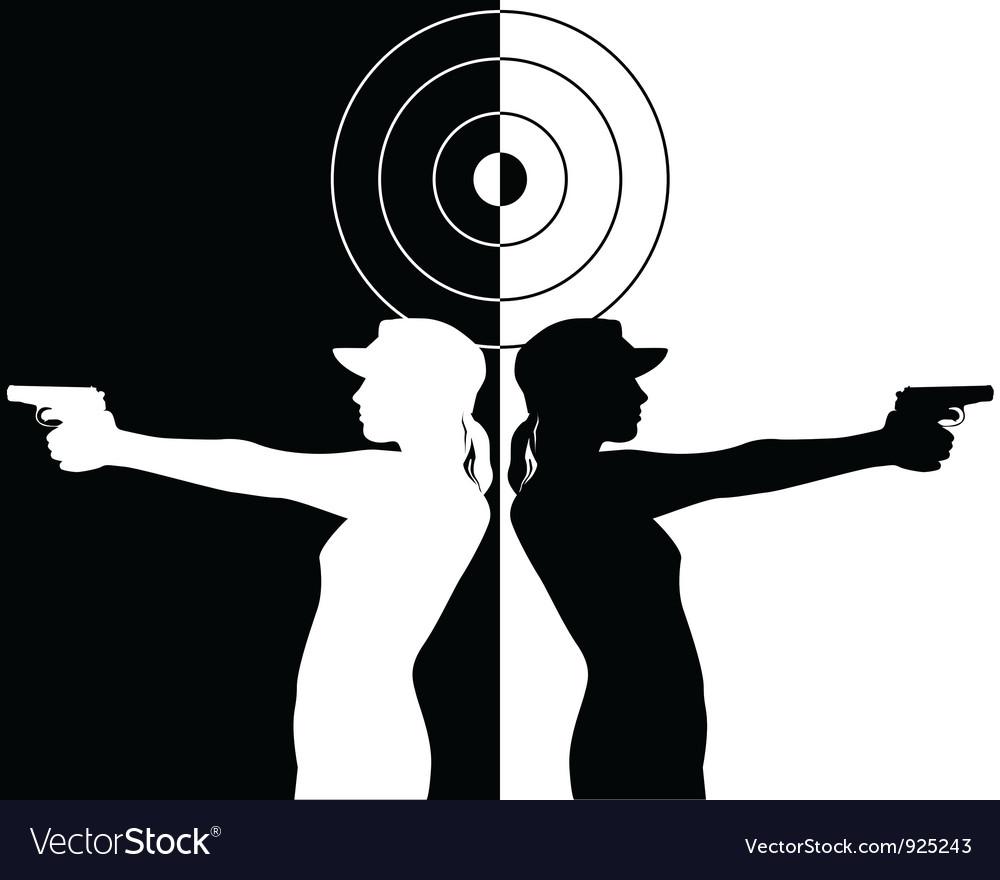 Pistol shooter vector