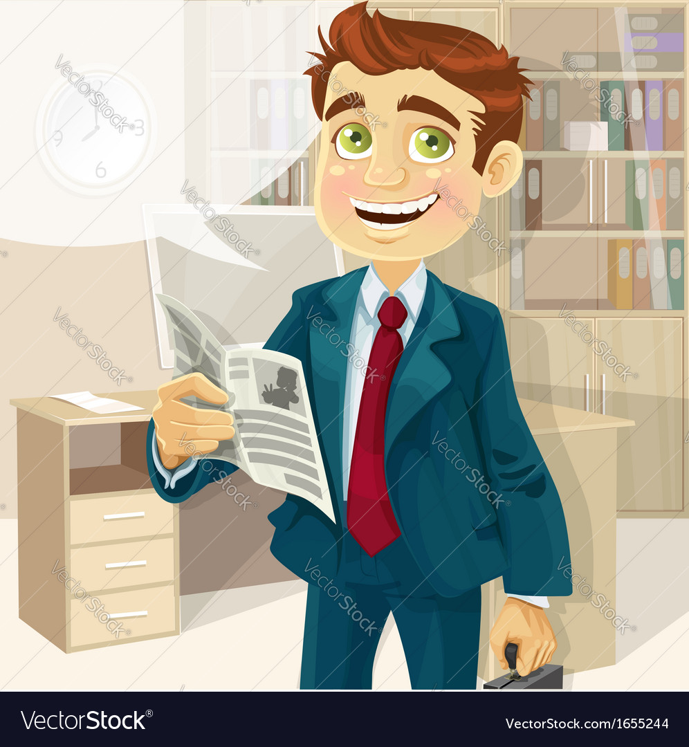 Business man in morning office read a summary of vector