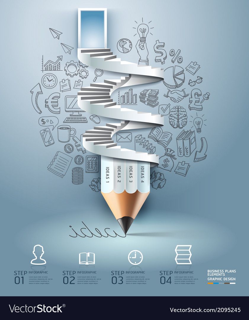 Business pencil staircase infographics vector