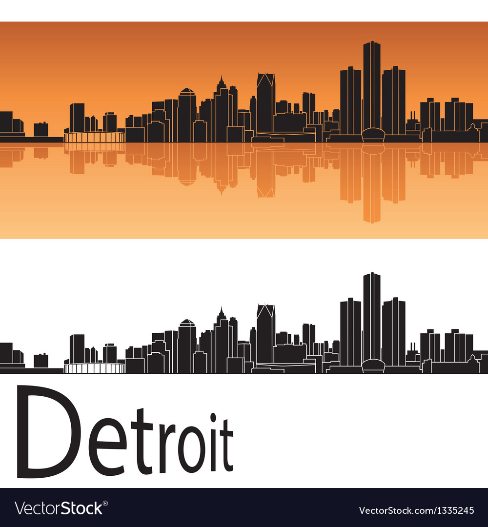 Detroit skyline in orange background vector