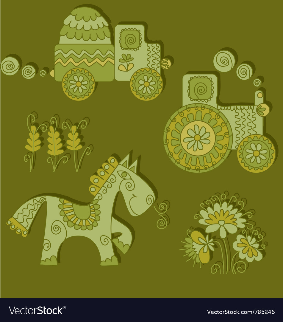 Color of agriculture transport vector