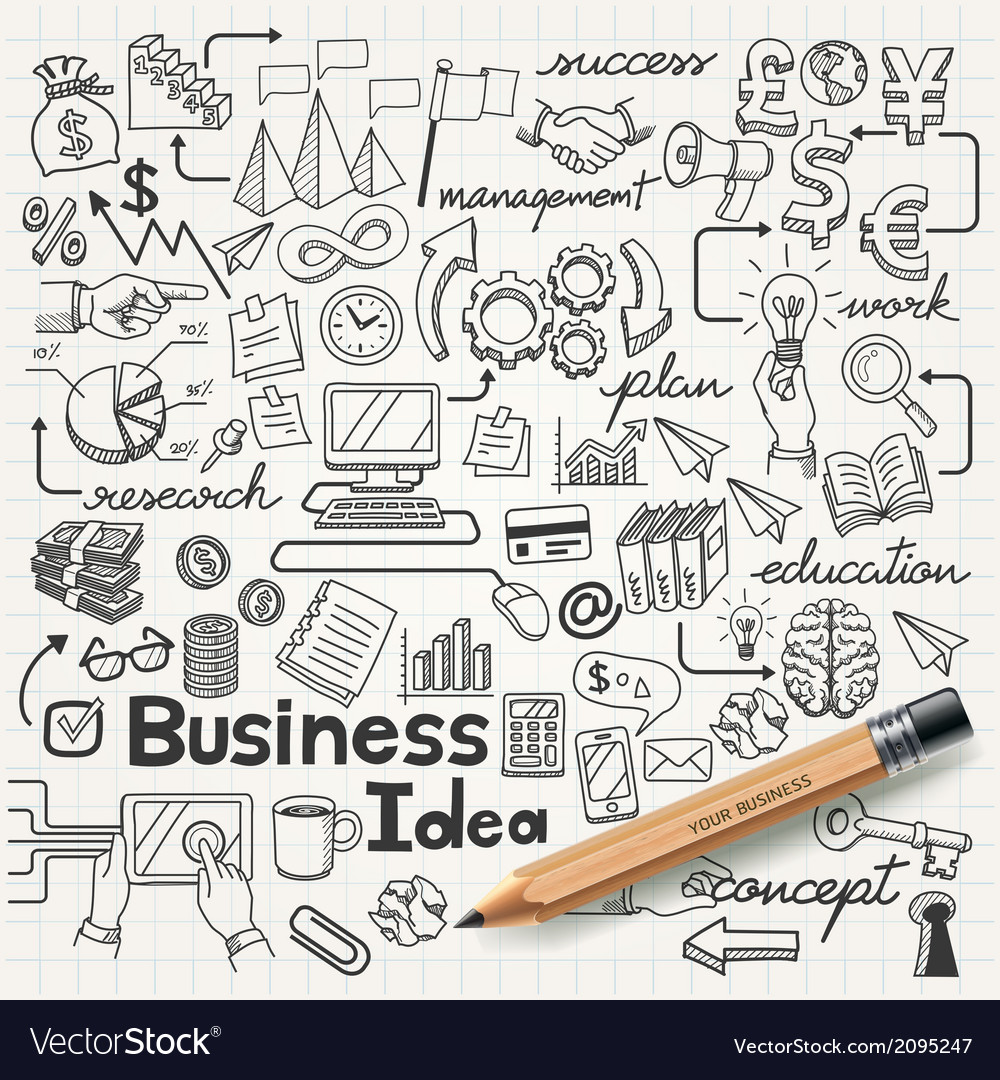 Business idea doodles icons set vector