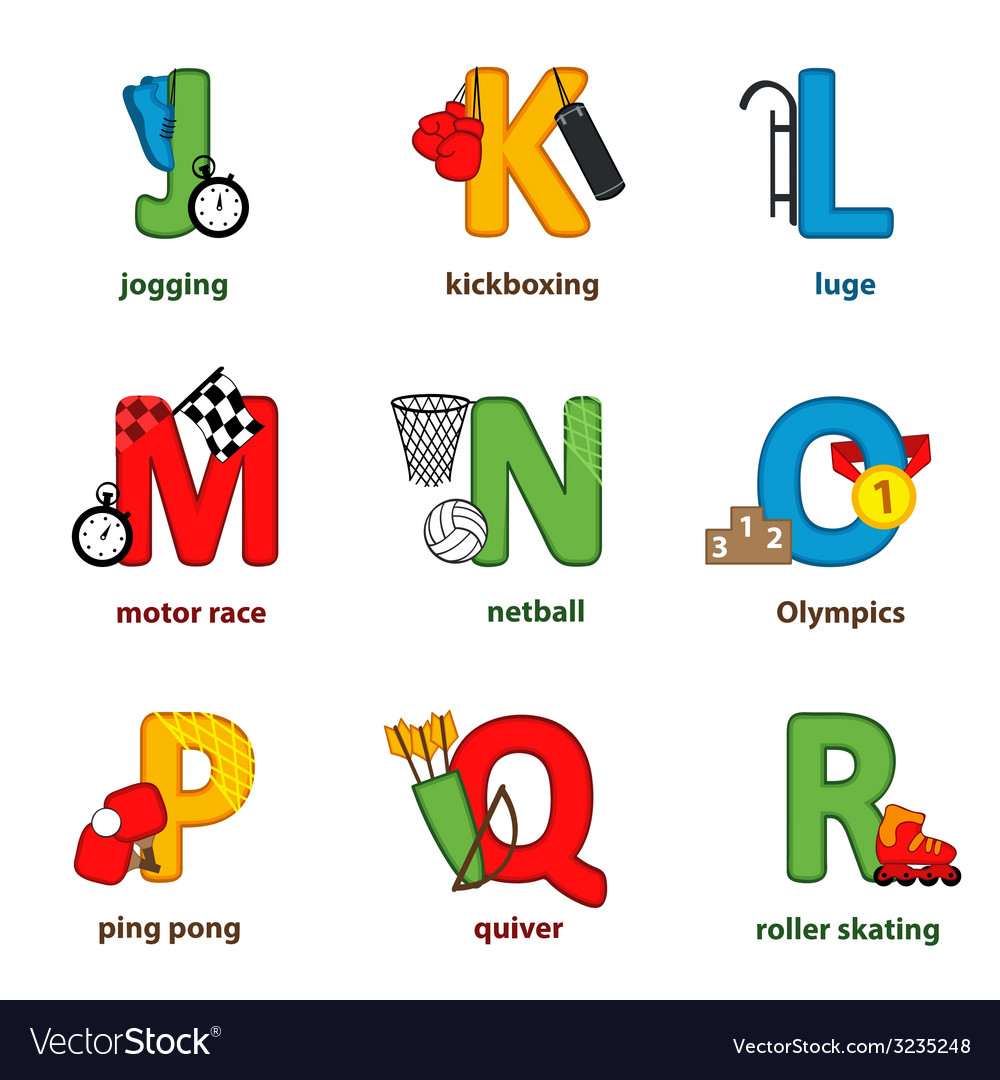 Alphabet sport from j to r vector