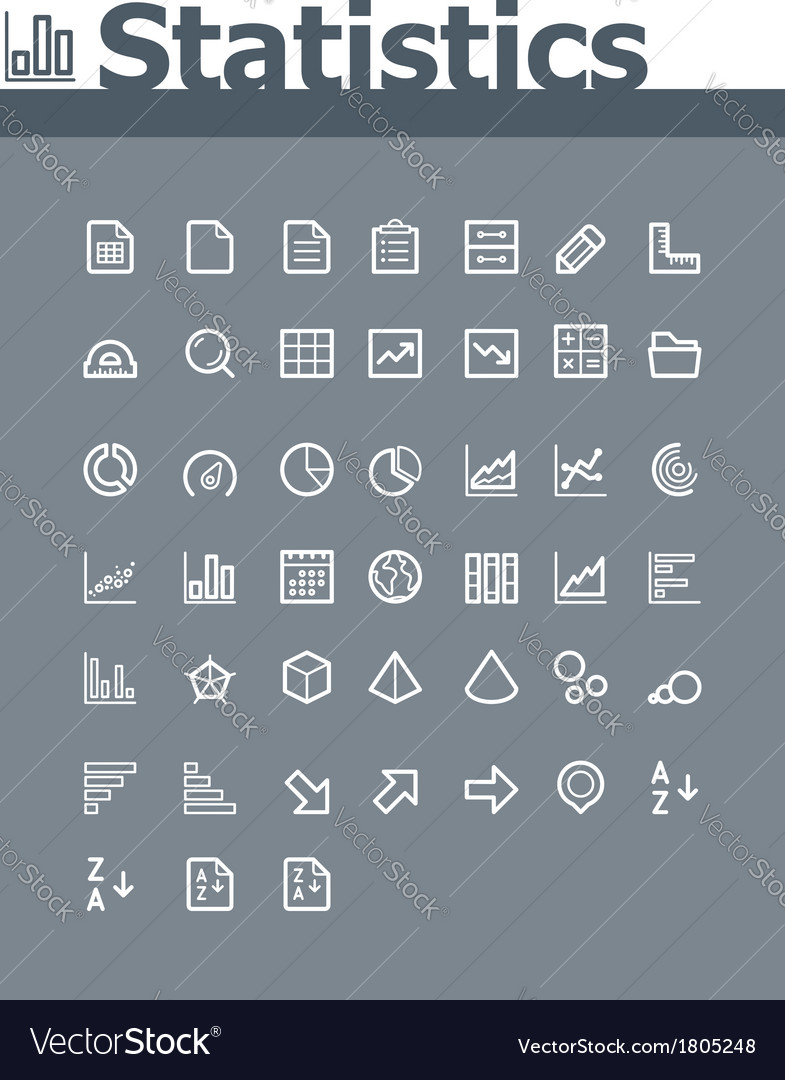 Statistic elements icon set vector