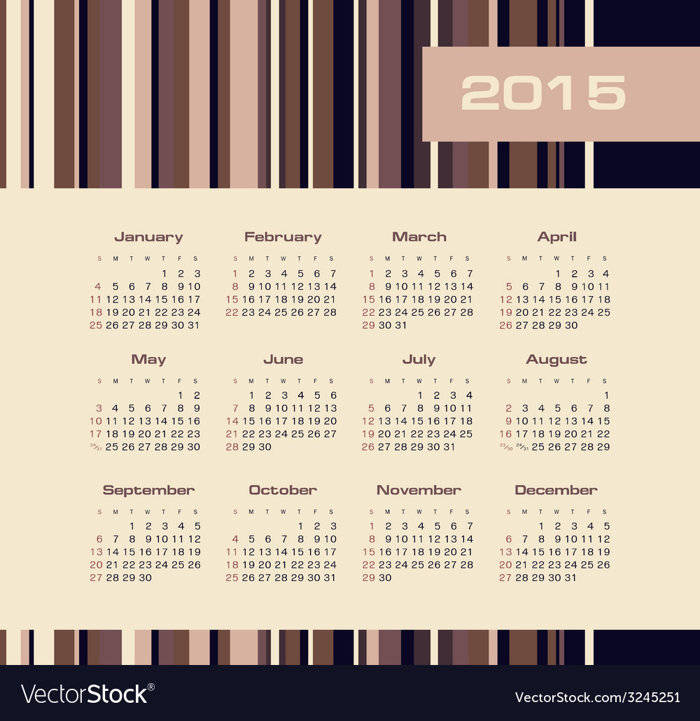 Calendar 2015 year with colored lines vector